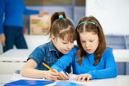 Schoolgirls learning together in primary school classroom. Elementary age children. photo