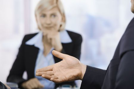 Hand in closeup, gesture at business meeting in office. Stock Photo - 6508191
