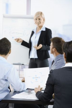 present presentation: Business people sitting on presentation at office. Businesswoman drawing to white board. Focus on diagram in front.