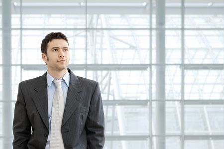 serious businessman: Portrait of businessman wearing grey suit and blue shirt, standing in front of windows in office lobby, looking ahead seriously.