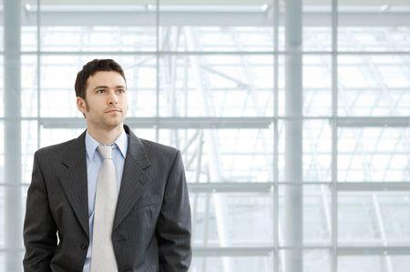 Ritratto di uomo indossa il vestito grigio e camicia blu, in piedi davanti alle finestre nella lobby di ufficio, guardando avanti seriamente.