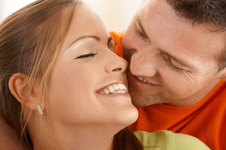 Couple kissing with eyes closed in closeup. Stock Photo - 6712198