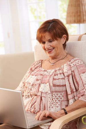 Elderly woman using laptop computer at home, sitting in armchair, looking at screen. Stock Photo - 7136645