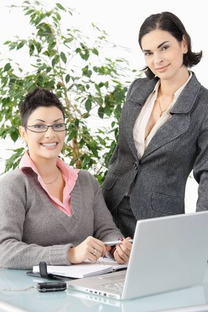 Happy young businesswomen working with laptop computer, smiling. Stock Photo - 7016403