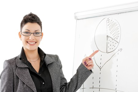 Happy young businesswoman doing business presentation, pointing to chart on whiteboard, smiling. photo