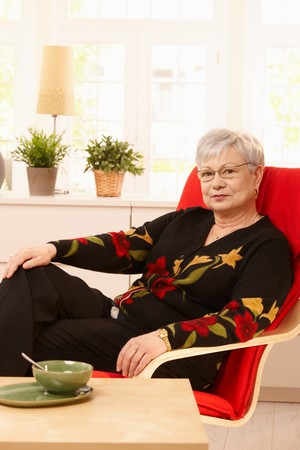 Senior woman sitting in armchair in bright living room. Stock Photo - 7217284