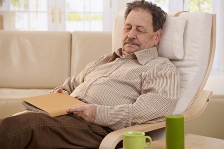 asleep chair: Senior man lying in armchair, fell asleep while reading book. Stock Photo