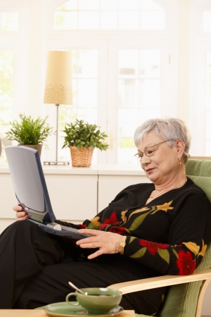 Modern pensioner woman sitting at home with laptop computer. Stock Photo - 7263669