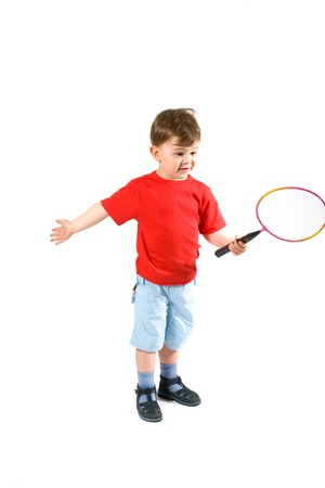 3 persons only: 3 years old boy playing badminton, isolated on white.