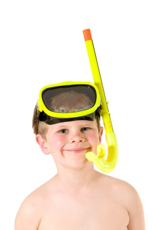 Closeup portrait of little boy wearing yellow mask and snorkel, smiling. Isolated on white. photo