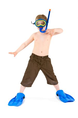 flippers: Happy 6 years old child (boy) posing in  scuba diving and mask, ready for summer vacation. Isolated on white.   Stock Photo