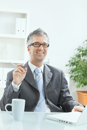 Businessman sitting at office desk working on laptop computer. Stock Photo - 7400623