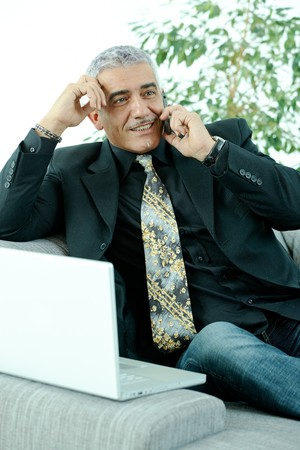 Gray haired mature businessman sitting on couch working on laptop computertalking on mobile phone, happy, smiling. photo