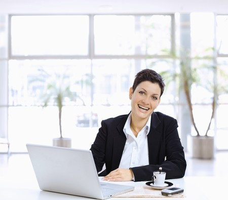 Happy businesswoman sitting at table in office lobby, using laptop computer, looking at camera laughing. Stock Photo - 7488027