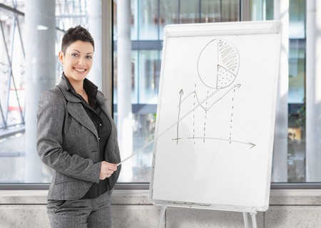 Happy young businesswoman doing business presentation on whiteboard at office training room. Stock Photo - 7488040