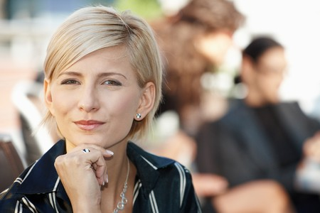 officetower: Closeup portrait of attractive businesswoman, thinking. Stock Photo