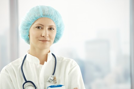 Closeup portrait of confident medical doctor smiling at camera. Stock Photo - 7653629