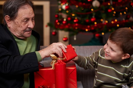 Grandchild giving christmas present to grandfather, smiling.   photo