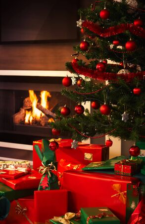cosy: presents and christmas tree in living room.%uFFFD Stock Photo
