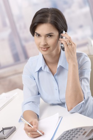 Portrait of smiling businesswoman on mobile phone call, sitting in office at desk, taking notes, looking at camera. photo