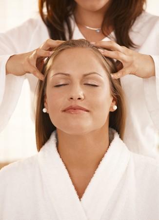 adult massage: Closeup photo of masseurs hands, during head massage.