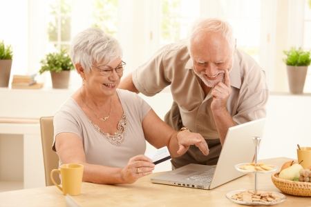 online purchase: Happy older couple doing online shopping, laughing wife pointing at screen of laptop computer.
