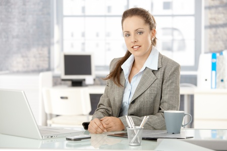 Young attractive businesswoman sitting by desk in office, having laptop. Stock Photo - 8251289