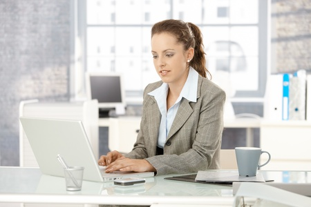 Attractive young businesswoman working on laptop in bright office. Stock Photo - 8251237