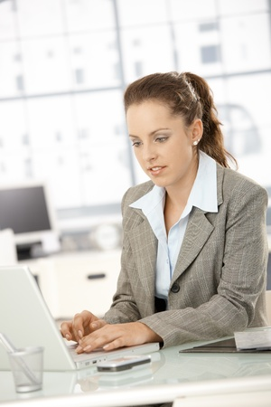 Attractive young businesswoman working on laptop in bright office. Stock Photo - 8251357
