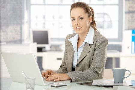 Attractive young businesswoman working on laptop in bright office. Stock Photo - 8251292