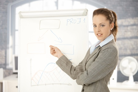 Young attractive businesswoman doing presentation in office, standing over whiteboard, pointing, smiling. photo