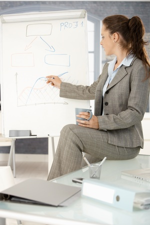 Young attractive businesswoman presenting in office, drawing diagram on whiteboard, sitting on desk. photo