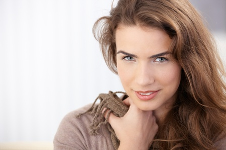 Portrait of attractive young girl smiling. photo