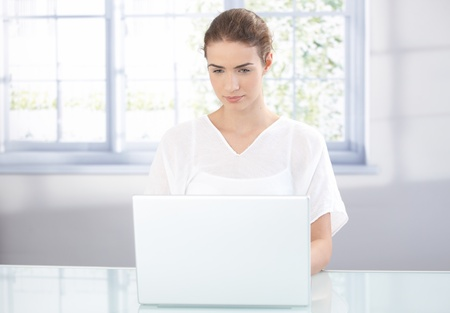 Young attractive female using laptop at home front of window. Stock Photo - 8534608