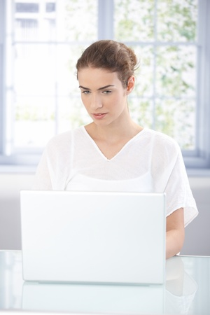 Attractive young girl working at home, using laptop. Stock Photo - 8534618