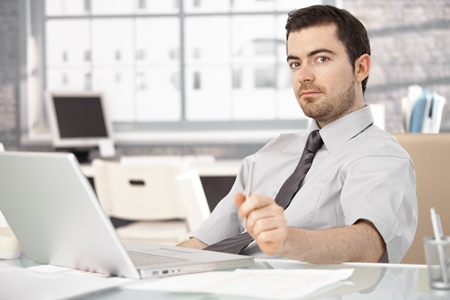 Young man working in bright office, sitting at desk, using laptop. Stock Photo - 8556729