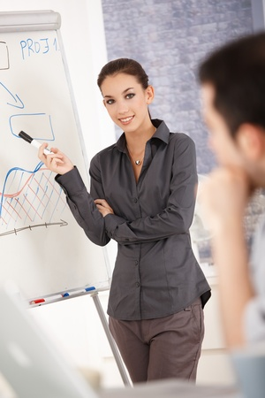 Young attractive businesswoman presenting in office over whiteboard, smiling. photo