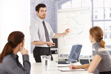 Young team of businesspeople having training, man presenting over whiteboard. photo