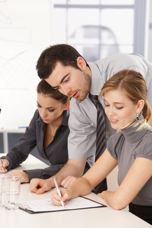 Young business team having training, sitting at meeting table. Stock Photo - 8552079