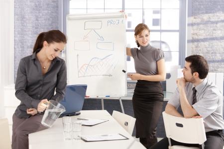 Young business team having workshop, working together, planning presentation, smiling. Stock Photo - 8558327