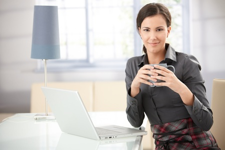 Pretty woman drinking tea at home, using laptop, smiling. Stock Photo - 8553168