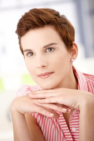 Closeup portrait of daydreaming redhead woman posing. Stock Photo - 8559456