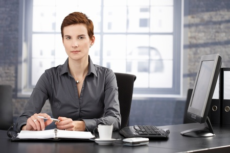 Determined businesswoman sitting at desk, working with personal organizer, looking at camera. Stock Photo - 8557558