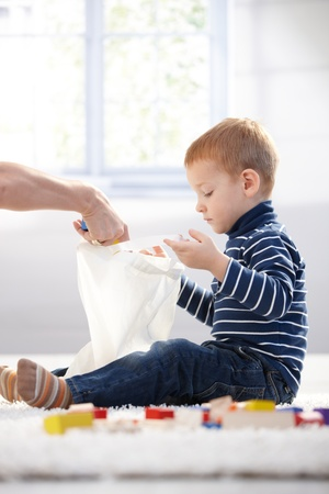 Ginger-haired little boy playing at home with cubes. Stock Photo - 8747262