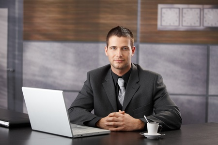Goodlooking confident manager sitting in fancy office, smiling. Stock Photo - 8747347