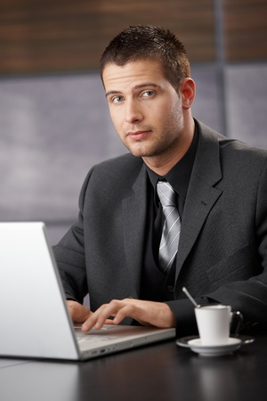 Handsome businessman working on laptop in elegant office. photo