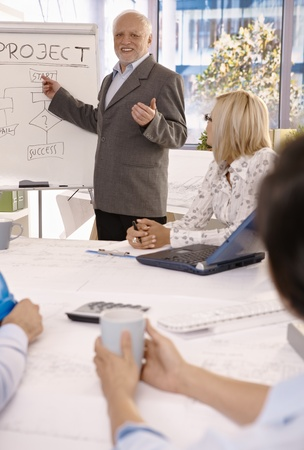 Smiling experienced businessman training employees using whiteboard in office. photo