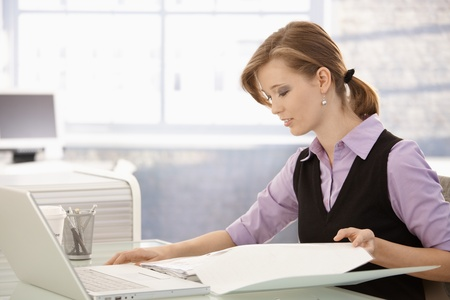 Office worker sitting at desk, doing paperwork. Stock Photo - 8784024