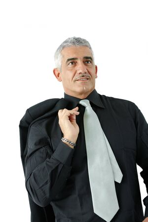 undoubting: Portrait of creative looking mature businessman, smiling, isolated on white background. Stock Photo
