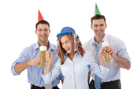 Young attractive businesspeople having party fun, laughing. Stock Photo - 8951247